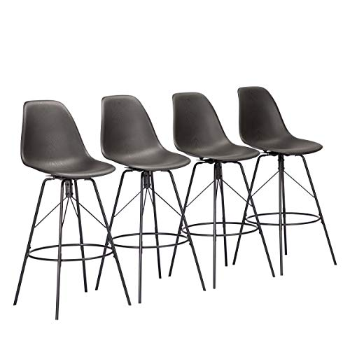 Alunaune Swivel Counter Bar Stools Set of 4 with Backs Mid Century Modern Armless Bar Height Side Chairs (26 inch,Black)