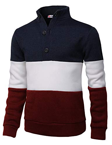 H2H Mens Fashion Knitted Slim Fit Pullover Sweaters Color Block High-Neck with Button Point Navy US M/Asia L (CMOSWL038)