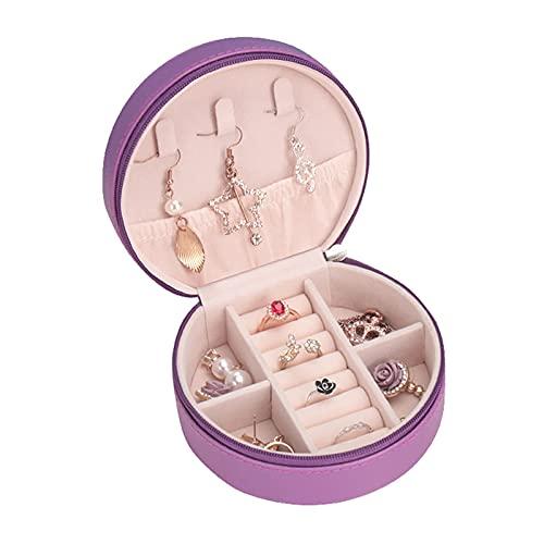 YIXINHUI Cajas de joyería Mini Caja de Almacenamiento de joyería Exquisita con Pendientes de Espejo Collar Organizador Cremallera Caso de Acabado portátil (Color : B)