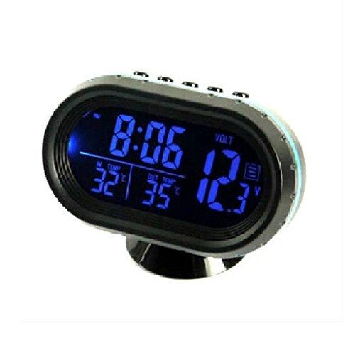 HOTSYSTEM 12V - 24V reloj & termómetro & voltímetro 3 in 1 monitor digital, 2 LCD colores azul + Naranja