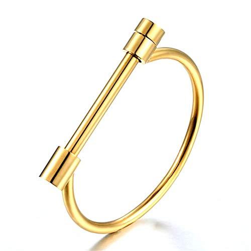 AILUOR de las Mujeres de Acero Inoxidable de D Bar Forma Tornillo Grillete de Herradura de la Novedad de Pulsera de Moda de joyería de Oro Ajustable