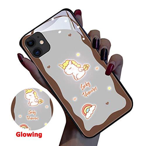 Twnhmj Iphone 11 Pro MAX Case Gloeiende Iphone 11 Pro Case Regenboog Paard Lichtgevende Logo Licht Omhoog Logo Case Verlicht Cover Gehard Glas Back Cover voor Telefoon Iphone 11