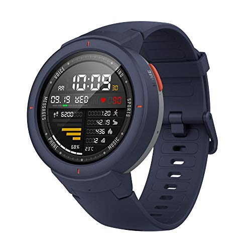Visor OLED Amazfit Smartwatch Verge 1.3 '', GPS Fitness Watch, Música sem Fio, 512M RAM, 4GB ROM, 360 Resolução × 360 Azul