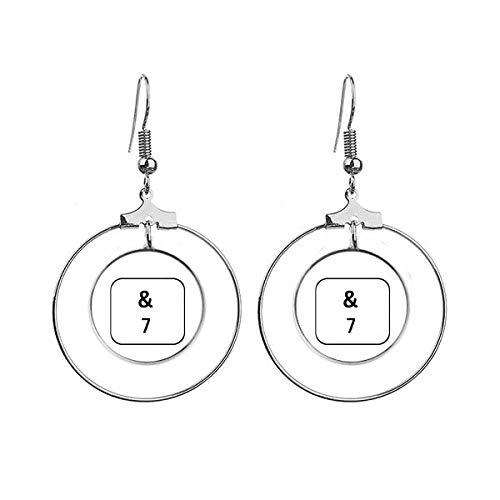 Toetsenbord Symbool 7 Art Deco Gift Mode Oorbellen Dangle Hoop Sieraden Drop Cirkel