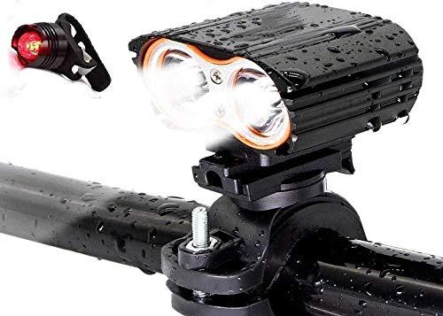 A-Generic Lampe de vélo T6 2400 Lumens USB Rechargeable IPX5 étanche Facile à Installer feu arrière de vélo Voyant d'avertissement Lampe de sécurité de vélo
