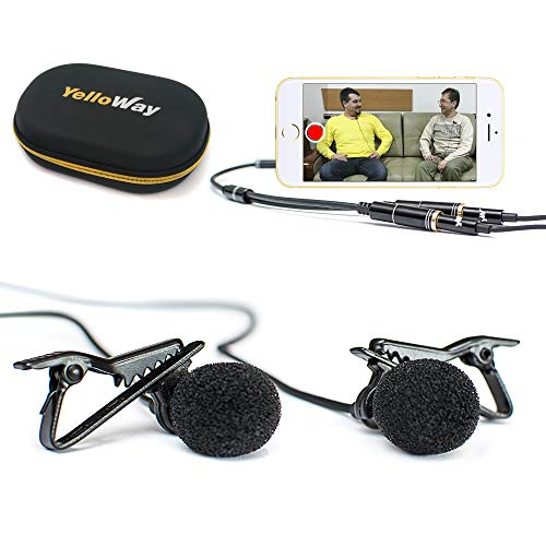 Dual Lavalier Microphone - Interview Microphone - 2 Podcast Microphone Pack - 2 Lavalier Lapel Microphones Set