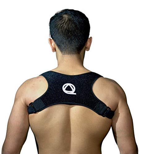 Qualid Posture Corrector- Invisible Under Clothes, Men and Women, Body Fitting, One Size Fits All, High Quality, Thin and Comfortable (Black)