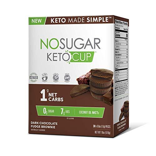 No Sugar Keto Cups - Dark Chocolate Fudge Brownie 30 pack, Low Carb Keto Snacks, Gluten Free by No Sugar Company
