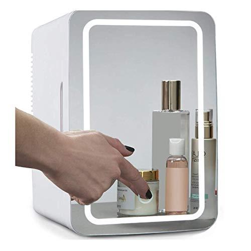 Houozon Mini Nevera Beauty Nevera, Panel De Vidrio + Iluminación LED, con Configuración De Frío Y Calor, para Maquillaje Y Cuidado De La Piel, 8 litros, para Dormitorio, Oficina, Dormir, Coche