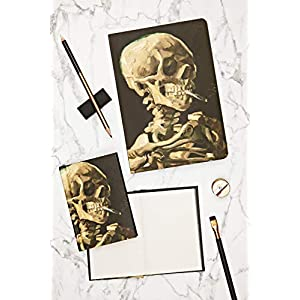 Head of a Skeleton with a Burning Cigarette- Skull, Amazing A5 Notebook with Dot Grid Pages and Lay Flat Technology