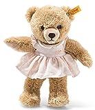 Steiff Schlaf Gut Bär - 25 cm - Teddybär mit Kleid - Kuscheltier für Babys - weich & waschbar - beige / rosa (239526), Mehrfarbig, Medium
