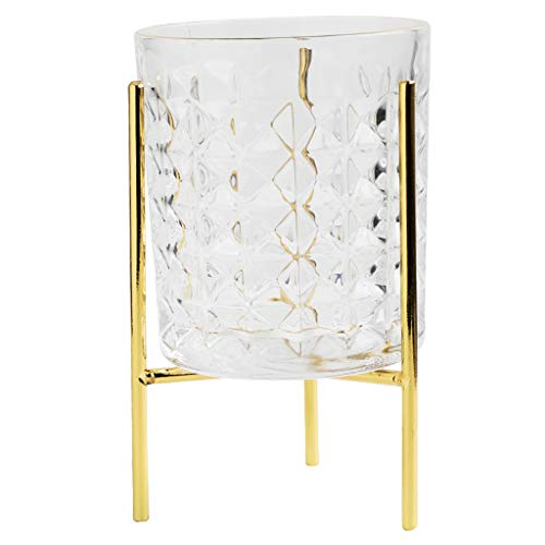 Goquik Creatieve Gouden Glas Cup Koffie Beker Whiskey Glas Met Gouden IJzeren Frame Sieraden Opslag Beker, Goud