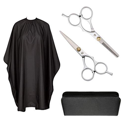 Haarschere Set Friseurscheren scharfer und präziser Schnitt, Haarschneideschere mit Etui, Professionelle Friseurscheren und Effilierschere, mit Haarschneideumhang Schwarz, für Kinder Frauen und Männer