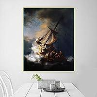 キャンバスアート油絵レンブラント《ガラリアの海の嵐》アートワークポスター画像モダンな壁の装飾家の装飾キャンバスプリント80x100cmフレームレス