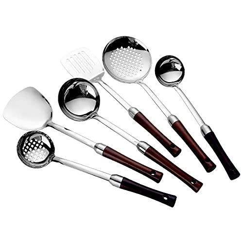 XGLIPQ 6-piece stainless steel spatula household colander shovel kitchen set. A complete set of cookware, spoons, kitchen utensils, shovel, and spoon. Practical and durable