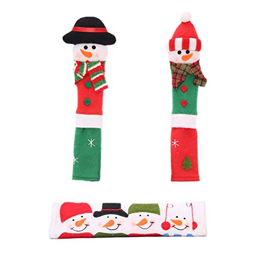 VORCOOL Lot de décorations de Noël pour poignées de réfrigérateur, Autocollants de vitrine et couvercles pour poignées de Four pour décoration de Bureau