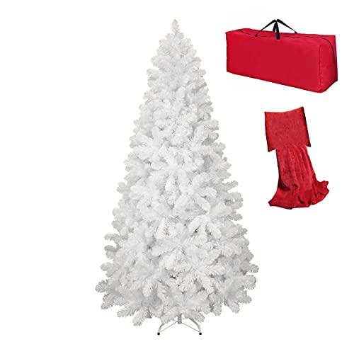 Totò Piccinni Albero di Natale Artificiale NOEL, Folto, Effetto Realistico, Rami a Gancio, Facile Montaggio, PVC, Ignifugo con Borsone (150 cm, Bianco)