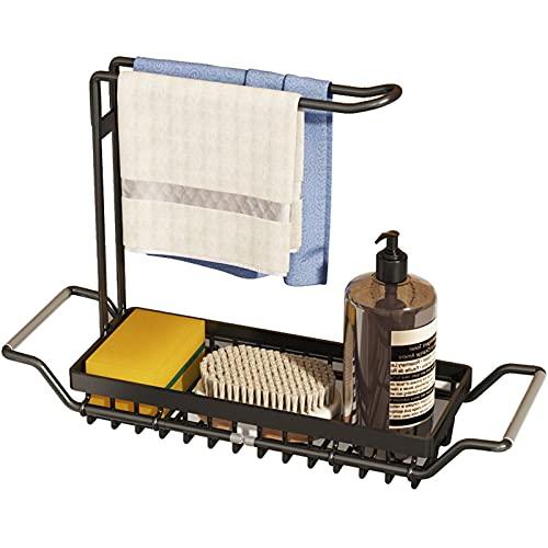 Byoauo Soporte de esponja telescópico para fregadero de acero inoxidable 304, accesorio de cocina para fregadero/cocina (color negro)