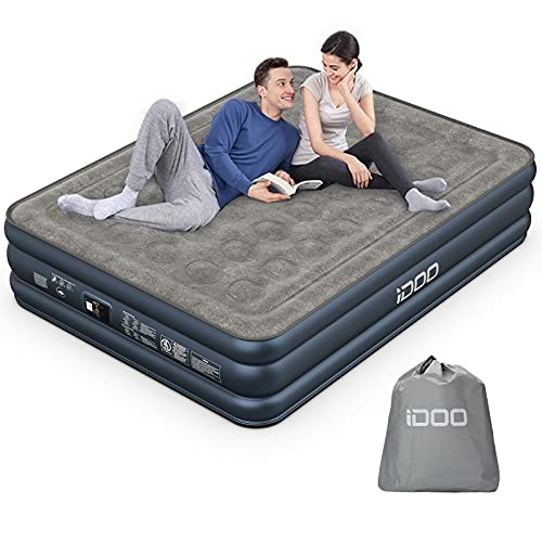 iDOO Queen Air Mattress, Inflatable Air Bed with Built-in Pump, 3 Mins Quick Self-Inflation/Deflation, Comfortable Top Surface Blow Up Bed for Home Portable Camping Travel, 80x60x18in, 650lb MAX