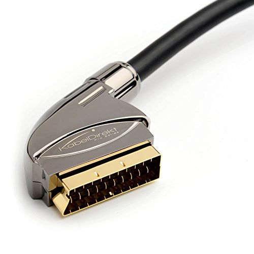 KabelDirekt – SCART Kabel – 1,5m (21 Polig, mehrfach geschirmt, Präzisionsstecker, Full HD) – PRO Series