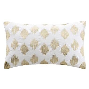 INK+IVY Nadia Dot Metallic Embroidery Oblong Pillow, Gold