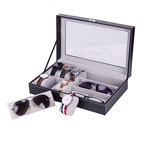 CO-Z Uhrenkoffer 6 Uhren mit Brillenbox Brillen Koffer Case für 3 Brillen Sonnenbrillen mit Schaufenster aus Glas für Aufbewahrung Präsentation Aufbewahrungsbox Organizer PU Leder,schwarz