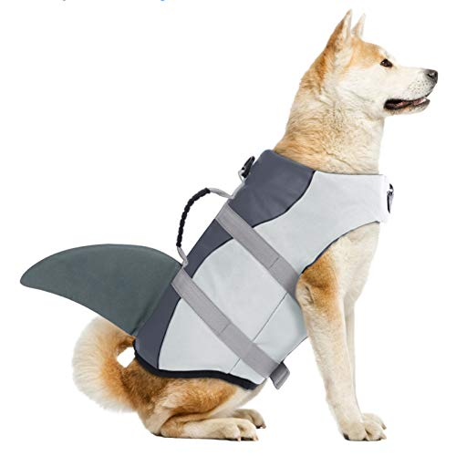 Dog Life Jackets, Ripstop Pet Floatation Life Vest for Small, Middle, Large Size Dogs, Dog Lifesaver Preserver Swimsuit for Water Safety at The Pool, Beach, Boating (Large, Grey Shark)