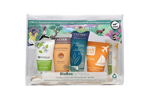 BioBox by Flightbox - Pour Hommes - Trousse de toilette voyage BIO complète pour le voyage. Trousse de Toilette Transparente, Kit de Voyage, Trousse de Voyage étanche Sac Cosmétiques pour Hommes