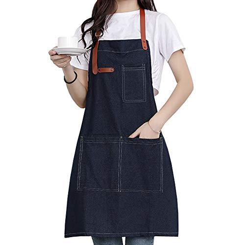 Watwass Lavoro Grembiuli Donna Cameriere caffè Panetteria Unisex Grembiule Barbecue Cucinare Giardinaggio Lavabile Denim