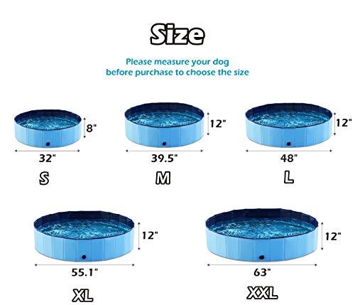 Jasonwell Foldable Dog Pet Bath Pool Collapsible Dog Pet Pool Bathing Tub Kiddie Pool for Dogs Cats & Kids (63