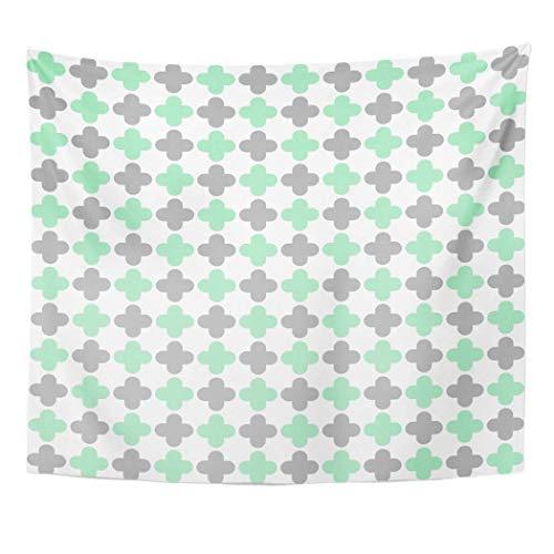 N\A Tapiz Colgante de Pared Arte Naturaleza Hogar Verde 300 para Menta Gris Claro Quatrefoil Patrón Baner para Sala de Estar Dormitorio Dormitorio Decoración en