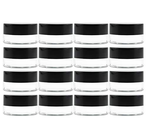 Cornucopia 7-Milliliter Clear Glass Balm Jars (12-Pack); 1/4 oz Cosmetic Jars with Lined Black Plastic Lids (0.25 Ounce Glass)
