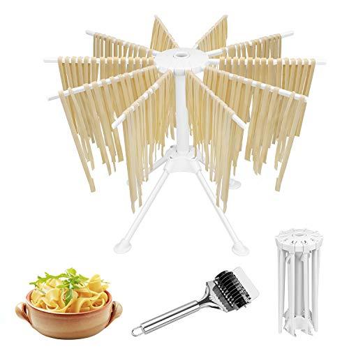 Hysagtek Faltbarer Nudeltrockner mit Nudelschneider Kunststoff Haushalts Nudelständer mit 10 Stangengriffen Spaghetti Wäscheständer Nudelständer zur Herstellung von Nudelherstellernudeln