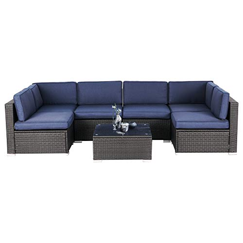 SOLAURA 7-Piece Outdoor Furniture Set, Black Brown Wicker Furniture Modular Sectional Sofa Set with YKK Zipper &Coffee Table - Navy Blue