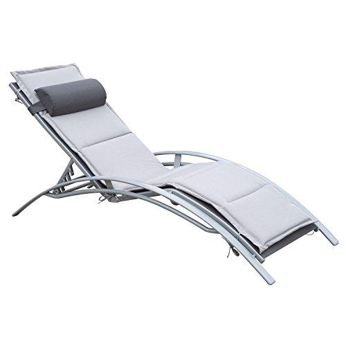 Outsunny Sonnenliege Gartenliege Gartenstuhl Relaxsessel Liegestuhl Alu verstellbar (Grau)