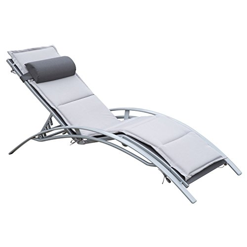 Outsunny Sonnenliege Gartenliege Gartenstuhl Relaxsessel Liegestuhl Alu verstellbar Grau