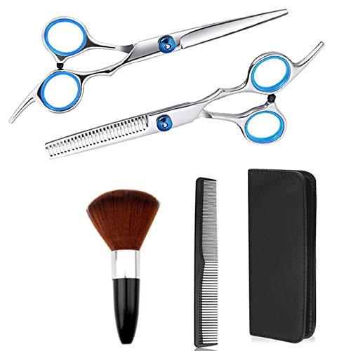 BATQER Tijeras, Conjunto de Tijeras de barbero de Acero Inoxidable, Herramientas de Corte de Cabello Profesional, Tijeras de Corte Plano, Tijeras de Dientes