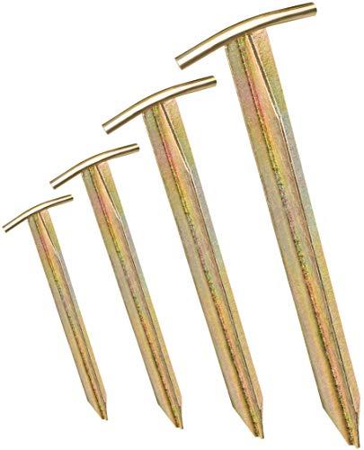 4X Zelt-Heringe - Länge: 30 cm, Breite: 2,5 cm - T-Profil | Heringe | Erdnägel | Bodenanker aus verzinktem Stahl zur Befestigung & Fixierung (4)
