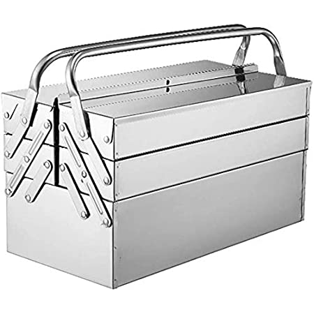 GOVD Metal Tool Box, Cantilever Stainless Steel Tool Chest Cabinet with Carry Handles Portable Lockable Storage Toolcase (Color : 3 Layers, Size : 460mm)