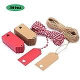 Tag Regalo, EKKONG 200 Etiquetas de Papel Kraft 9cm x 4cm con corda 60M - per matrimonio, ...
