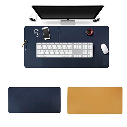 BUBM PU Leather Double Sided Desk Pad Computer Mat Desk Writing Mat for Office and Home,Ultra Thin 2mm - 31.5'x15.8' (Sapphire)