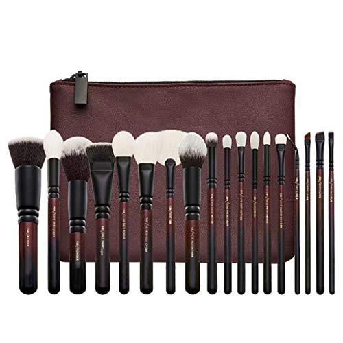 Beauté Pinceau De Maquillage, 18 Pcs Brown Professional Beauty Blush Brush Fondation Brush Set Ensemble Complet d'outils