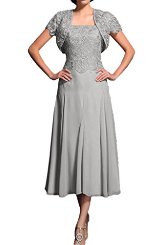 Promgirl House Damen Elegant A-Linie Spitze Brautmutter Abendkleider Ballkleider Wadenlang mit Bolero-48 Grau