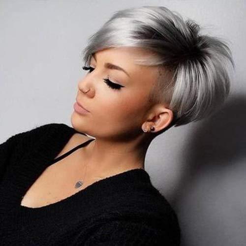 Korte Fashion Fluffy Layer Pruik Volledige Top bestand tegen hoge temperaturen Lace Bangs Vrouw Gradient Hair