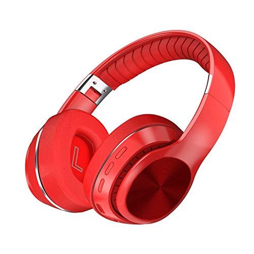 TYOP Auriculares Bluetooth sobre oído, Auriculares inalámbricos Plegables, Auriculares para Deportes de música móvil, Soporte de Cable de Audio de 3.5 mm, Tarjeta 32G TF, FM (Color : Red)