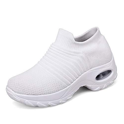 Zapatillas Deportivas de Mujer Gimnasio Zapatos Running Deportivos Fitness Correr Casual Ligero Comodos Respirable, Blancos, 38 EU
