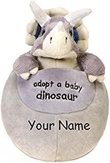 Personalized Adopt a Baby Dinosaur Baby Triceratops in Egg Plush Stuffed Animal Toy - 8 Inches