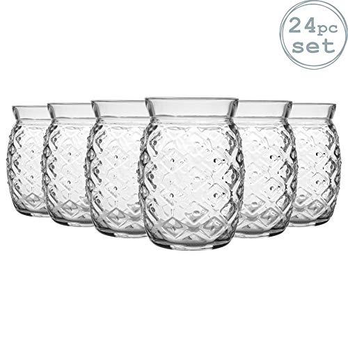 Bormioli Rocco 24 Stück Sour Ananas Cocktail-Gläser Set - Dekorative Tropical Tiki Bar Tumblers Trinken - 455ml