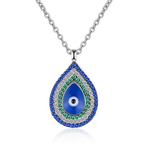 Roapk Ojos Azules Plata De Ley 925 Collares Pendientes Cadena De Eslabones Collar De Circón Gargantilla para Mujer Joyería De Moda Collares 2019 40Cm
