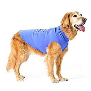 Gold Paw Stretch Fleece Dog Coat – Soft, Warm Dog Clothes, Stretchy Pet Sweater – Machine Washable, Eco Friendly – All Season – Sizes 2-33, Cornflower Blue, Size 12